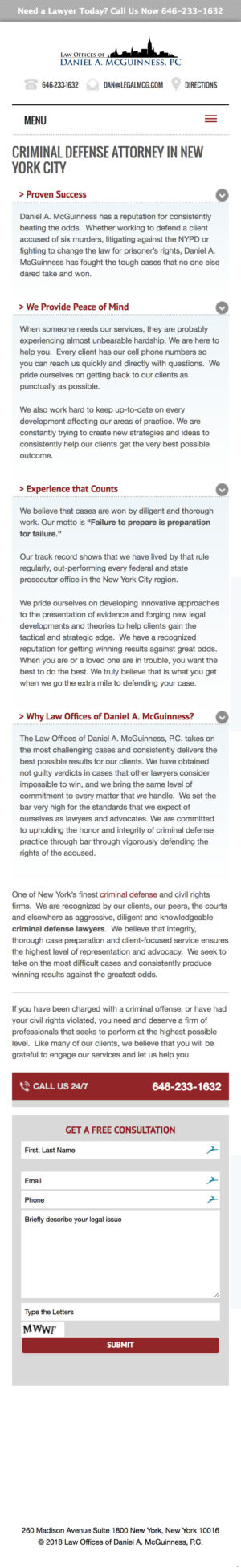 NYC Criminal Defense Attorney Law Offices of Daniel A McGuinness mobile